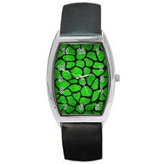 Skin1 Black Marble & Green Brushed Metal Barrel Style Metal Watch