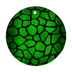 Skin1 Black Marble & Green Brushed Metal Round Ornament (two Sides)