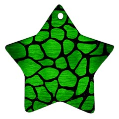 Skin1 Black Marble & Green Brushed Metal Star Ornament (two Sides)