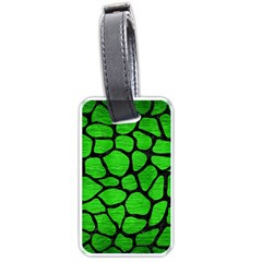 Skin1 Black Marble & Green Brushed Metal Luggage Tags (two Sides)