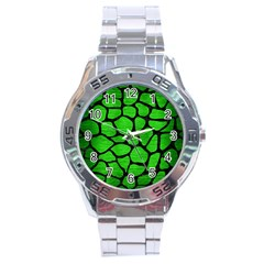 Skin1 Black Marble & Green Brushed Metal Stainless Steel Analogue Watch