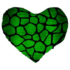 Skin1 Black Marble & Green Brushed Metal Large 19  Premium Flano Heart Shape Cushions