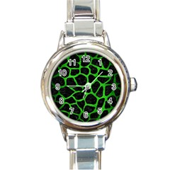 Skin1 Black Marble & Green Brushed Metal (r) Round Italian Charm Watch