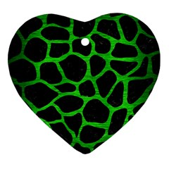 Skin1 Black Marble & Green Brushed Metal (r) Heart Ornament (two Sides)