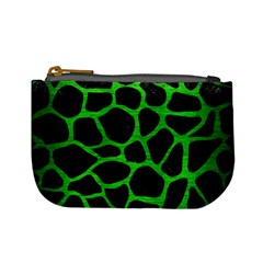 Skin1 Black Marble & Green Brushed Metal (r) Mini Coin Purses