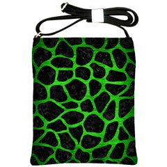 Skin1 Black Marble & Green Brushed Metal (r) Shoulder Sling Bags