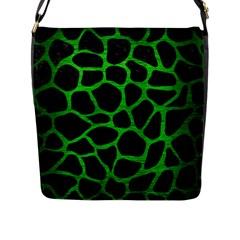 Skin1 Black Marble & Green Brushed Metal (r) Flap Messenger Bag (l)