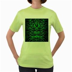 Skin2 Black Marble & Green Brushed Metal Women s Green T Shirt