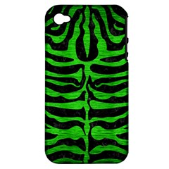 Skin2 Black Marble & Green Brushed Metal Apple Iphone 4/4s Hardshell Case (pc+silicone)