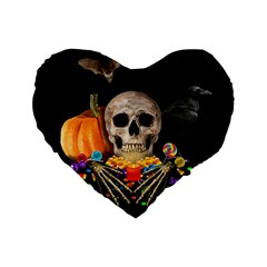 Halloween Candy Keeper Standard 16  Premium Flano Heart Shape Cushions