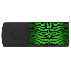 Skin2 Black Marble & Green Brushed Metal (r) Rectangular Usb Flash Drive