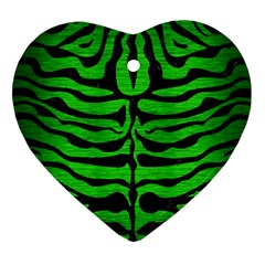Skin2 Black Marble & Green Brushed Metal (r) Heart Ornament (two Sides)