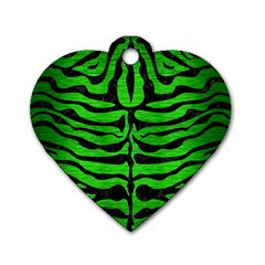 Skin2 Black Marble & Green Brushed Metal (r) Dog Tag Heart (two Sides)