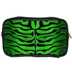 Skin2 Black Marble & Green Brushed Metal (r) Toiletries Bags