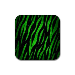 Skin3 Black Marble & Green Brushed Metal Rubber Square Coaster (4 Pack)