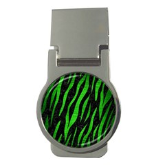 Skin3 Black Marble & Green Brushed Metal Money Clips (round)