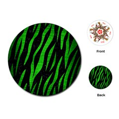 Skin3 Black Marble & Green Brushed Metal Playing Cards (round)