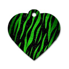 Skin3 Black Marble & Green Brushed Metal Dog Tag Heart (two Sides)