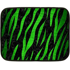 Skin3 Black Marble & Green Brushed Metal Double Sided Fleece Blanket (mini)