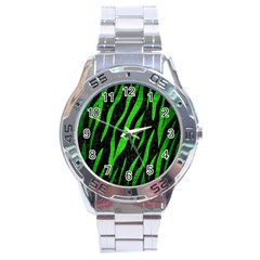 Skin3 Black Marble & Green Brushed Metal Stainless Steel Analogue Watch