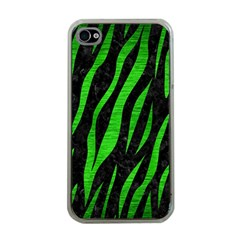 Skin3 Black Marble & Green Brushed Metal Apple Iphone 4 Case (clear)