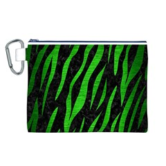 Skin3 Black Marble & Green Brushed Metal Canvas Cosmetic Bag (l)