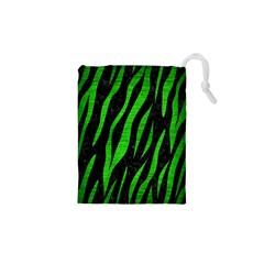 Skin3 Black Marble & Green Brushed Metal Drawstring Pouches (xs)