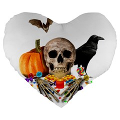 Halloween Candy Keeper Large 19  Premium Flano Heart Shape Cushions