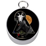 Spiritual goat Silver Compasses Front