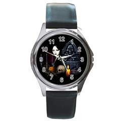 Vampires Night  Round Metal Watch
