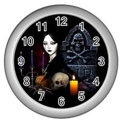 Vampires Night  Wall Clocks (silver)