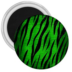 Skin3 Black Marble & Green Brushed Metal (r) 3  Magnets