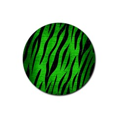 Skin3 Black Marble & Green Brushed Metal (r) Rubber Round Coaster (4 Pack)