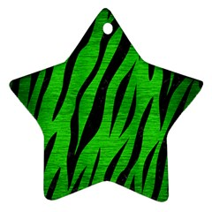 Skin3 Black Marble & Green Brushed Metal (r) Star Ornament (two Sides)