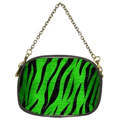 Skin3 Black Marble & Green Brushed Metal (r) Chain Purses (two Sides)