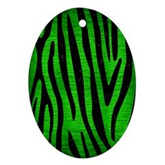 Skin4 Black Marble & Green Brushed Metal Ornament (oval)