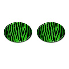 Skin4 Black Marble & Green Brushed Metal Cufflinks (oval)