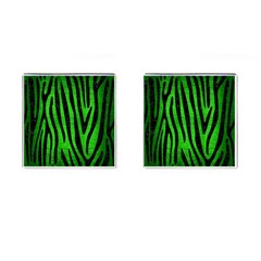 Skin4 Black Marble & Green Brushed Metal Cufflinks (square)
