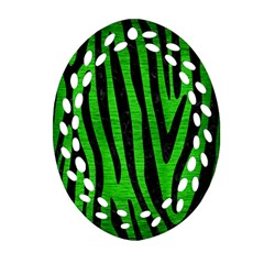 Skin4 Black Marble & Green Brushed Metal Ornament (oval Filigree)