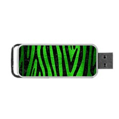 Skin4 Black Marble & Green Brushed Metal Portable Usb Flash (one Side)