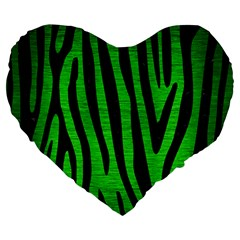 Skin4 Black Marble & Green Brushed Metal Large 19  Premium Flano Heart Shape Cushions