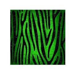 Skin4 Black Marble & Green Brushed Metal Small Satin Scarf (square)