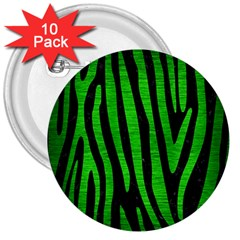 Skin4 Black Marble & Green Brushed Metal (r) 3  Buttons (10 Pack)