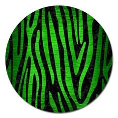 Skin4 Black Marble & Green Brushed Metal (r) Magnet 5  (round)