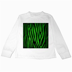 Skin4 Black Marble & Green Brushed Metal (r) Kids Long Sleeve T Shirts