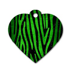 Skin4 Black Marble & Green Brushed Metal (r) Dog Tag Heart (two Sides)