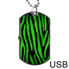 Skin4 Black Marble & Green Brushed Metal (r) Dog Tag Usb Flash (two Sides)