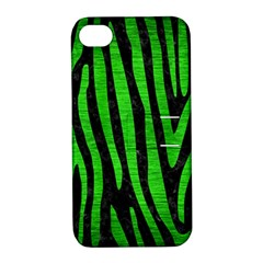 Skin4 Black Marble & Green Brushed Metal (r) Apple Iphone 4/4s Hardshell Case With Stand