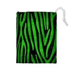 Skin4 Black Marble & Green Brushed Metal (r) Drawstring Pouches (large)