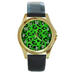 Skin5 Black Marble & Green Brushed Metal Round Gold Metal Watch